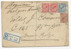Great Britain Scott #160 Pair #161 #163 on Registered WWI Cover to Soldier