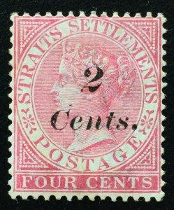 Malaya 1883 Straits Settlements QV 2c surch 4c MNG SG#61 M2303