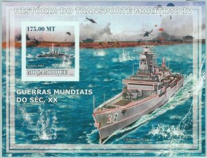 A1158- MOZAMBIQUE, ERROR, IMPERF Souvenir s: 2009, Aircraft carriers, Helicopter