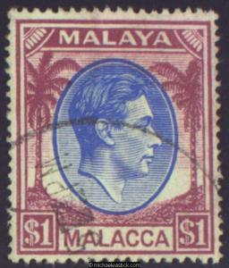 1949 Malaya Malacca $1 Blue & Purple, SG 15 used