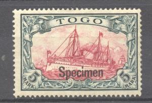 Togo 1900 Yacht 5 Mark. SPECIMEN overprint, mint, hinged