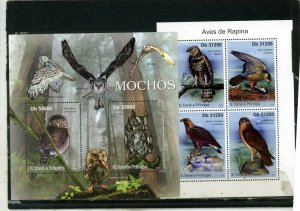 ST.THOMAS & PRINCE ISLANDS 2011 BIRDS 2 SHEETS OF 2 & 4 STAMPS MNH