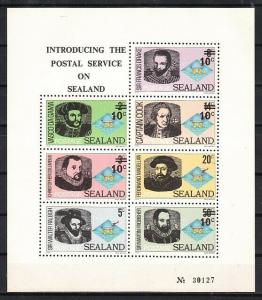 Sealand, Local issue. Explorers as Columbus, Cook & Drake sheet.