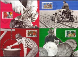 Liechtenstein 1982 Agriculture and Forestry 4 Maxi Cards FDC