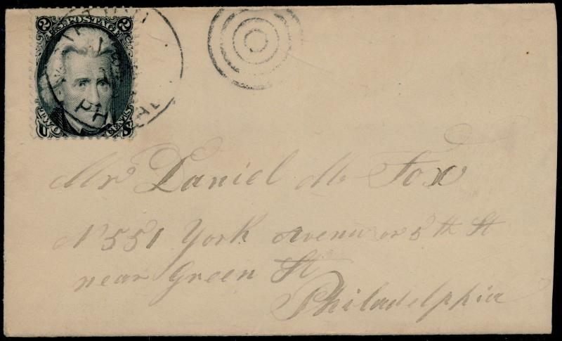#73 ON VF-XF COVER WITH TOWN CANCEL CV $85.00 BQ5656