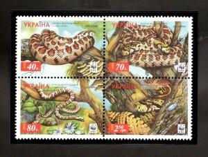 Ukraine MNH Block 464 Snakes Reptiles WWF 2002