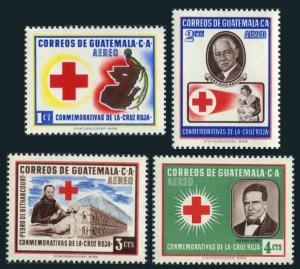 Guatemala C219-C222,MNH.Michel 611-614. Red Cross 1958.Doctors,Hospital,Map,Bird