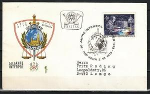 Austria, Scott cat. 955. INTERPOL issue. First day cover. ^