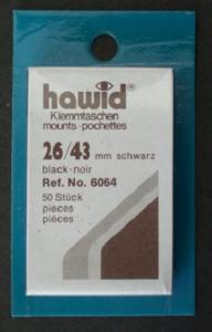 Hawid Stamp Mounts Size 26/43 BLACK Pack of 50