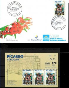 URUGUAY 2019 PABLO PICASSO PAINTINGS EXPO S/SHEET MNH+FDC COMBO