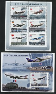 Comoro Is. 1007-08  MNH The Great Airports Souvenir Sheets from 2008