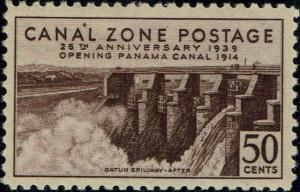 CANAL ZONE #135 1939 50c GATUN SPILLWAY--AFTER ISSUE--MINT-OG/NH-VF