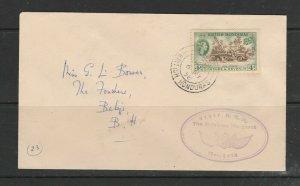 British Honduras 1958 Royal Visit cacheted cover, Hand addressed, QE2 4c Def