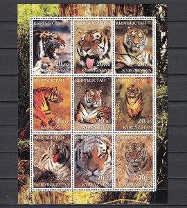 Kyrgyzstan, 2001 Russian Local. Tigers sheet of 9. ^