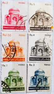 Pakistan:1979-1981:(20% reduced price)Tomb:Set of 6 Single Stamps:Used