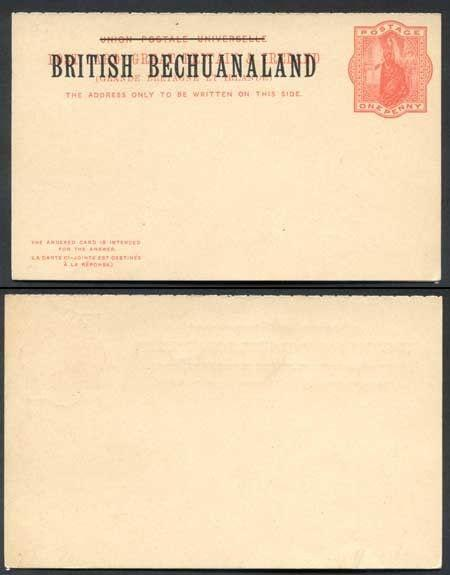 British Bechuanaland O/P on QV 1d Red Reply Postcard