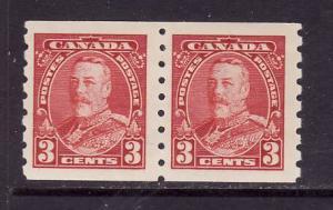 Canada-Sc#230-unused og, hinged 3c dark carmine KGV coil pair-1935-
