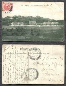 3025 - MALAYA 1912 Selangor Postcard to London CANADA. Seremban, Penang Cancels