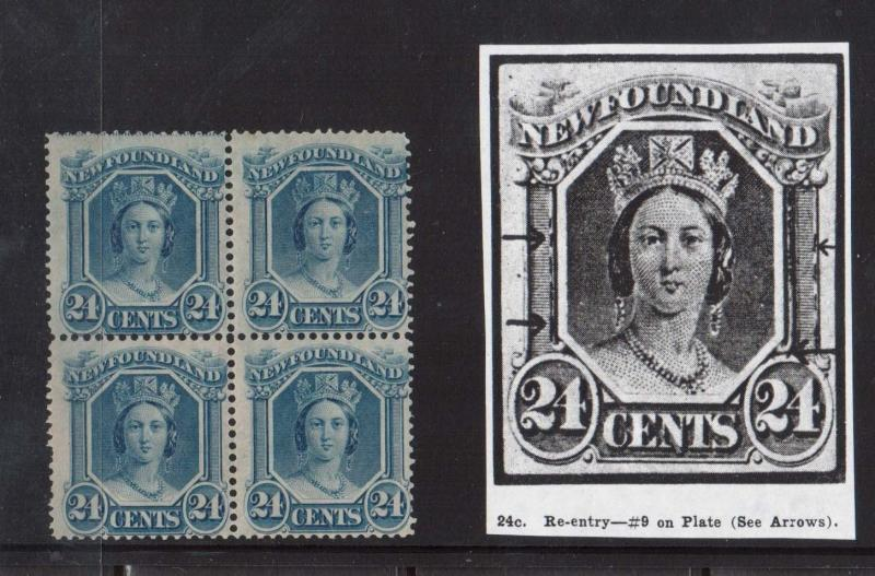 Newfoundland #31i Mint Major Reentry Block **With Certificate**