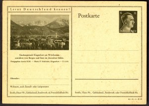 GERMANY 1941 6pf HITLER HEAD Learn to Know Germany Postal Card 41-3-1-B18 Unused