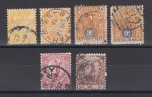 New South Wales SG 340/352 used. 1905-08 issues, 6 different with inverted wmks