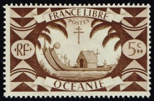 French Polynesia #136 Ancient Double Canoe; Unused (0.40) (2Stars)