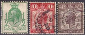 Great Britain #205-7   F-VF Used  CV $7.00  (A18877)