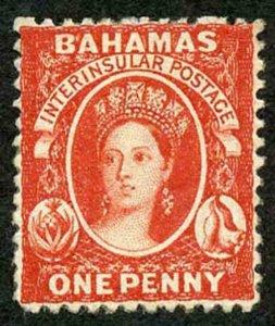 Bahamas SG25 1d Vermilion wmk Crown CC Perf 12.5 M/Mint Cat 75 pounds