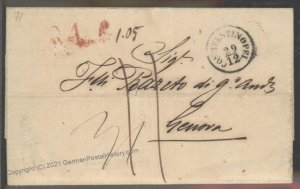 Turkey 1853 Constantinople Genova Italy Disinfected Cholera Pest Cover 102386