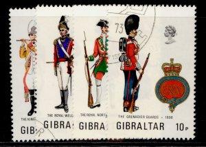 GIBRALTAR QEII SG313-316, 1973 military uniforms set, FINE USED.