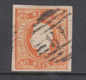 Angra Sc A22 used. 1866-67 80r orange King Luis, 48 in oval grid (Angra) cancel