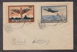 Poland - 1921 cover with 2 different local post air mail stamps