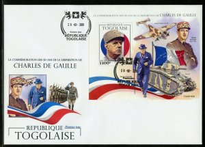 TOGO 2020 50th MEMORIAL ANN OF CHARLES deGAULLE WITH CHURCHILL S/SHEET  FDC
