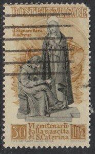 Stamp Italy SC 492 1948 Anniversary Birth Catherine Siena Patroness Used