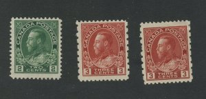 3x Admiral MH Canada stamps #107-2c 2x #184 Perf 8 MH  Guide Value= $50.00