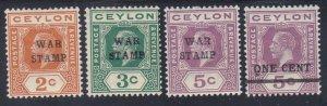 Ceylon MR1-4 Mint OG 1918 War Tax Stamps Full Set of 4 VF-XF