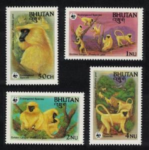 Bhutan WWF Golden Langur 4v SG#521-524 MI#840-843 SC#413-416