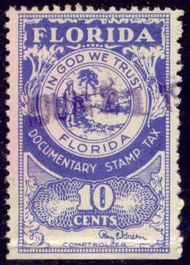 Florida State Revenue Stamp 10c Documentary Tax # D31
