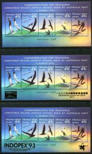 Christmas Island 349f,349g,349h, MNH TAIPEI-1993, INDONESIA-1993. Birds x16310
