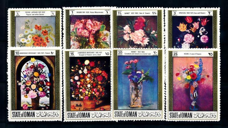 [96120] State of Oman  Art Paintings Flowers Manet Renoir Brueghel  MNH