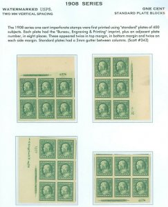 US Scott #343 Set/4 Position Imprint Plate Blocks/6, Mint-XF/GEM-NH (DK-4-21-21)