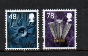 Great Britain Wales Sc 29-30 2007 Daffodil & Feathers stamp set mint NH