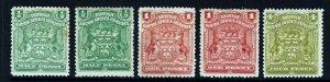 RHODESIA 1898-08 Arms Group SG 75, SG 75a, SG 77, SG 78 & SG 82 MINT