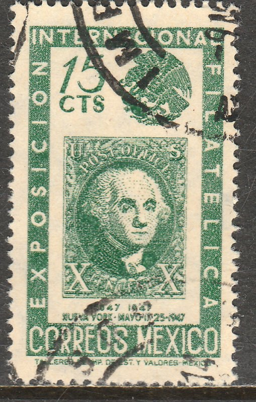 MEXICO 827, 15c Cent Intl Philat Exhib Arms & US #2 Used. VF. (894)