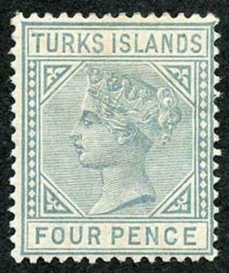 TURKS ISLANDS SG57 4d Grey Wmk Crown CA Perf 14 M/M (hinge remainder)