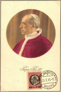 90080 -  VATICAN - Postal History -  MAXIMUM CARD -  POPE PIO XII Religion 1946