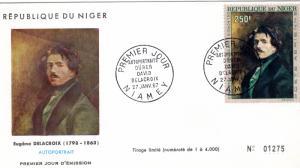 Niger 1967 Sc# C70 Eugene DELACROIX Self-portrait (1) Official FDC