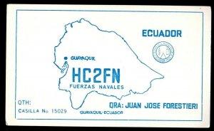QSL QSO RADIO CARD Juan Jose Forestieri,HC2FN,Fuerzas Navales, Ecuador (Q3537)