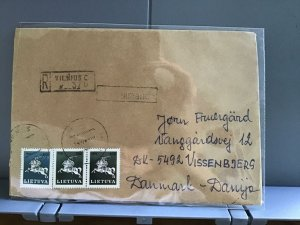 Lithuania 1991 to Denmark stamps cover R29368