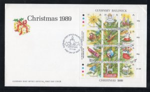 Guernsey Sc 421 1989 Christmas Decorations stamp sheet on FDC